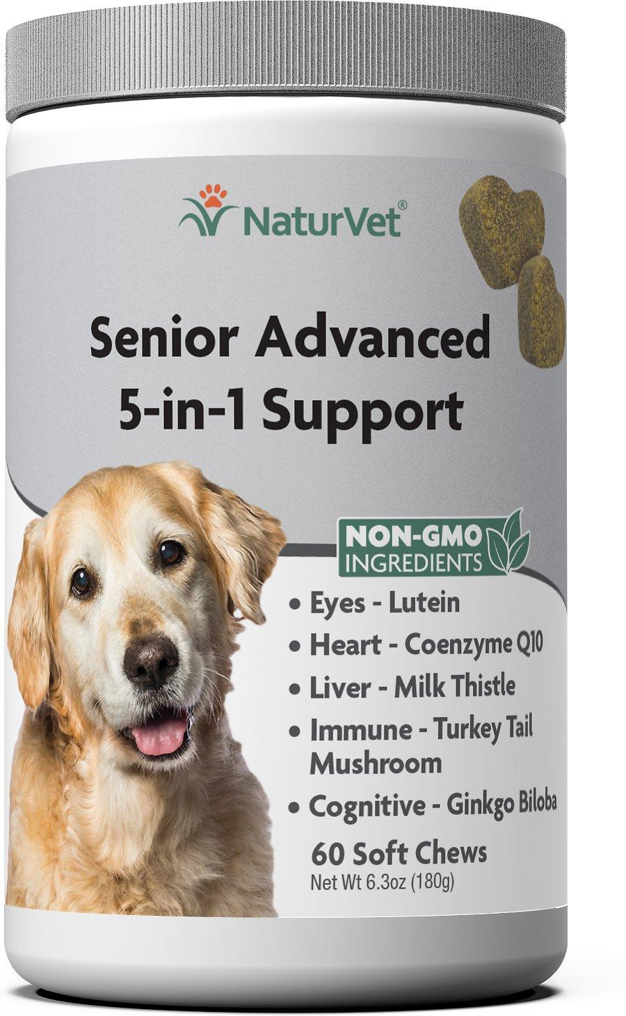 NaturVet Senior Advanced 5-in-1 Support Soft Chews Dog Supplement, 60-count