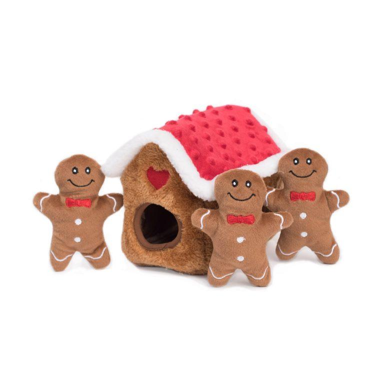 ZippyPaws Holiday Burrow Gingerbread House Dog Toy