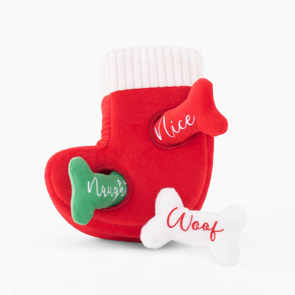 ZippyPaws Holiday Burrow Naughty or Nice Stocking Dog Toy
