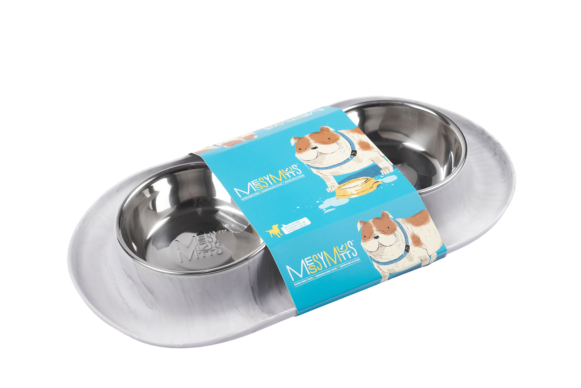 Messy Mutts Stainless Steel Double Feeder with Non-Slip Base Dog Bowl, Marble, Medium