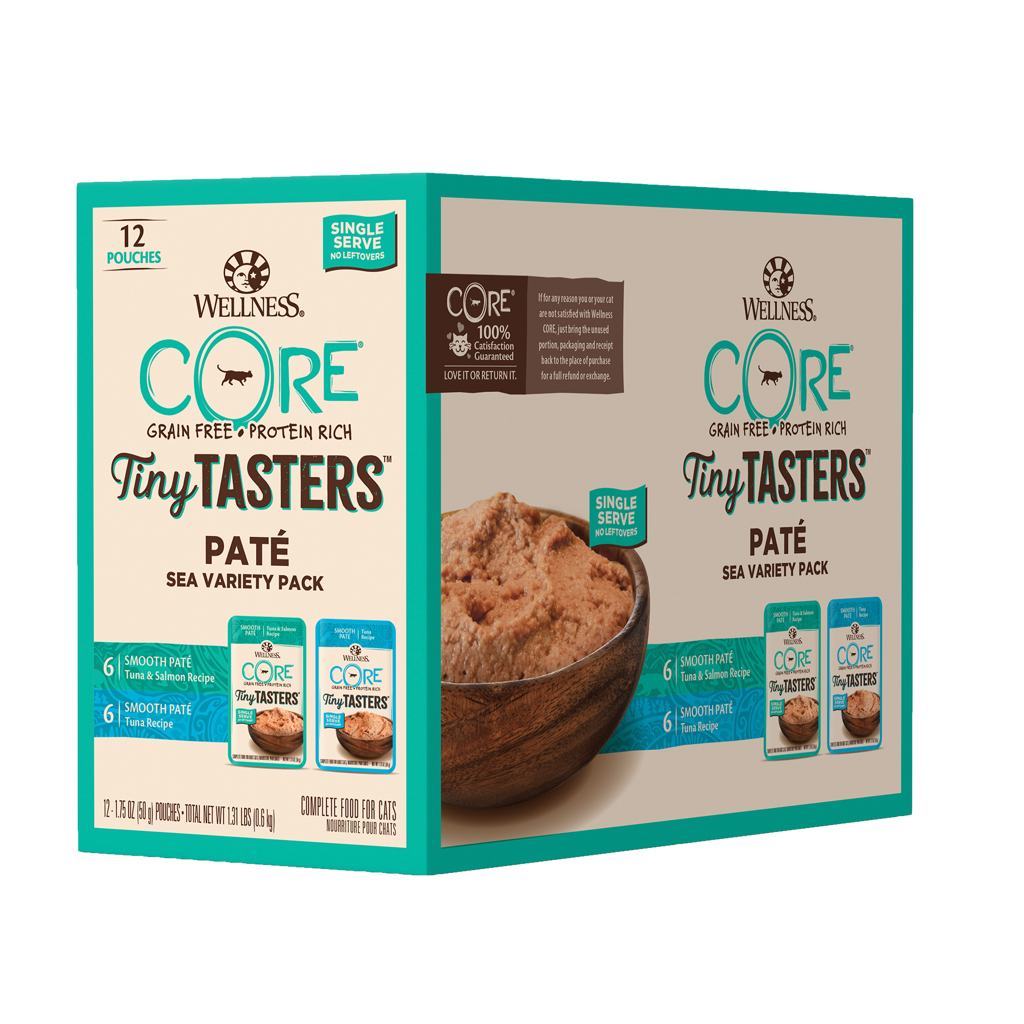 Wellness CORE Tiny Tasters Variety Pack Sea Grain-Free Cat Food Pouches, 1.75-oz, case of 12