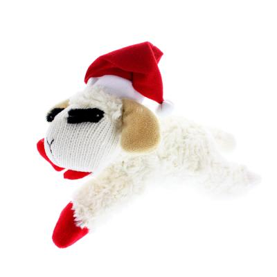 Multipet Lamb Chop with Santa Hat Dog Toy, 10.5-in