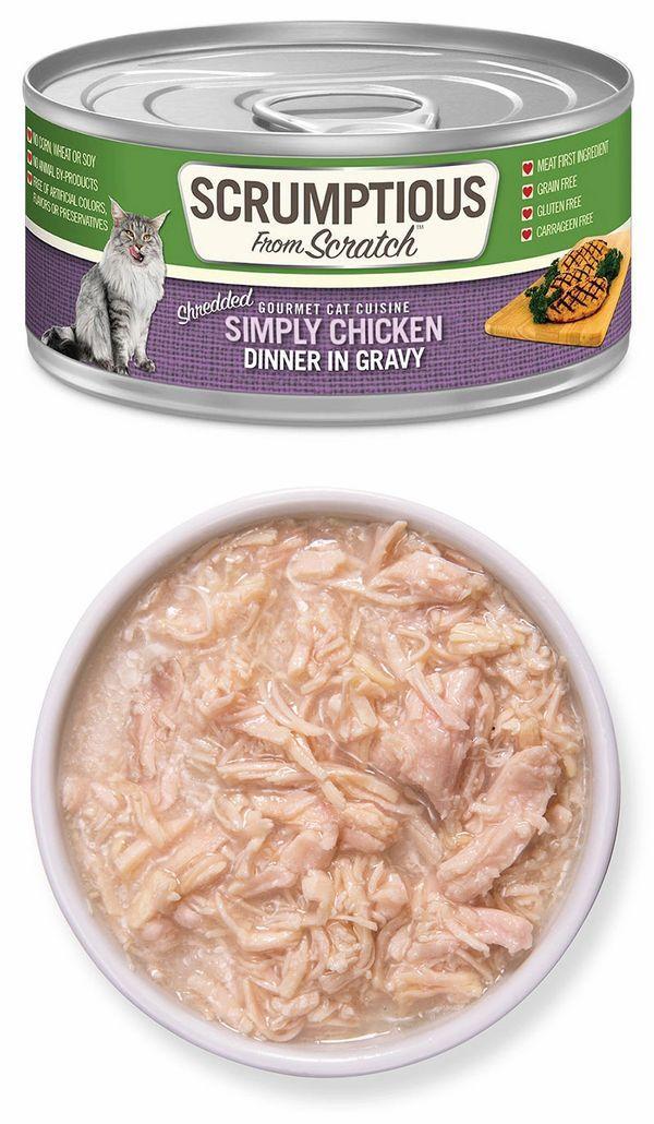Scrumptious From Scratch Shredded Simply Chicken in Gravy Wet Cat Food, 2.8-oz