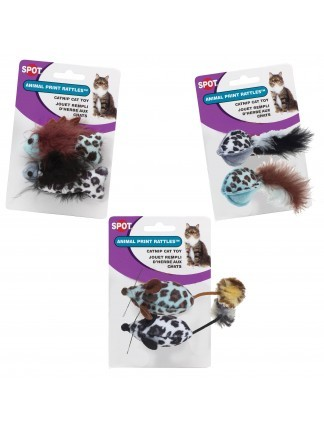 Ethical Pet Spot Animal Print Rattle with Catnip Cat Toy, 2-pack