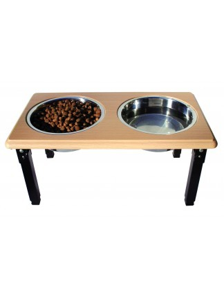 Ethical Pet Spot Posture Pro Adjustable Double Diner, Oak Image