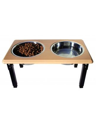 Ethical Pet Spot Posture Pro Adjustable Double Diner, Oak, 3-quart
