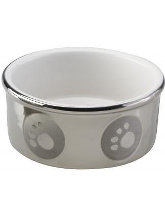 Ethical Pet Spot Titanium Stoneware Dish Dog, Paw Print, 5-in