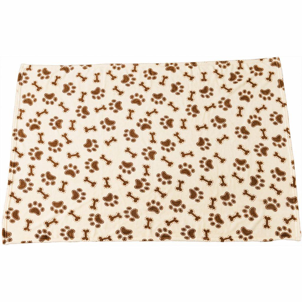 Ethical Pet Spot Snuggler Bones/Paws Print Dog Blanket, Cream Image