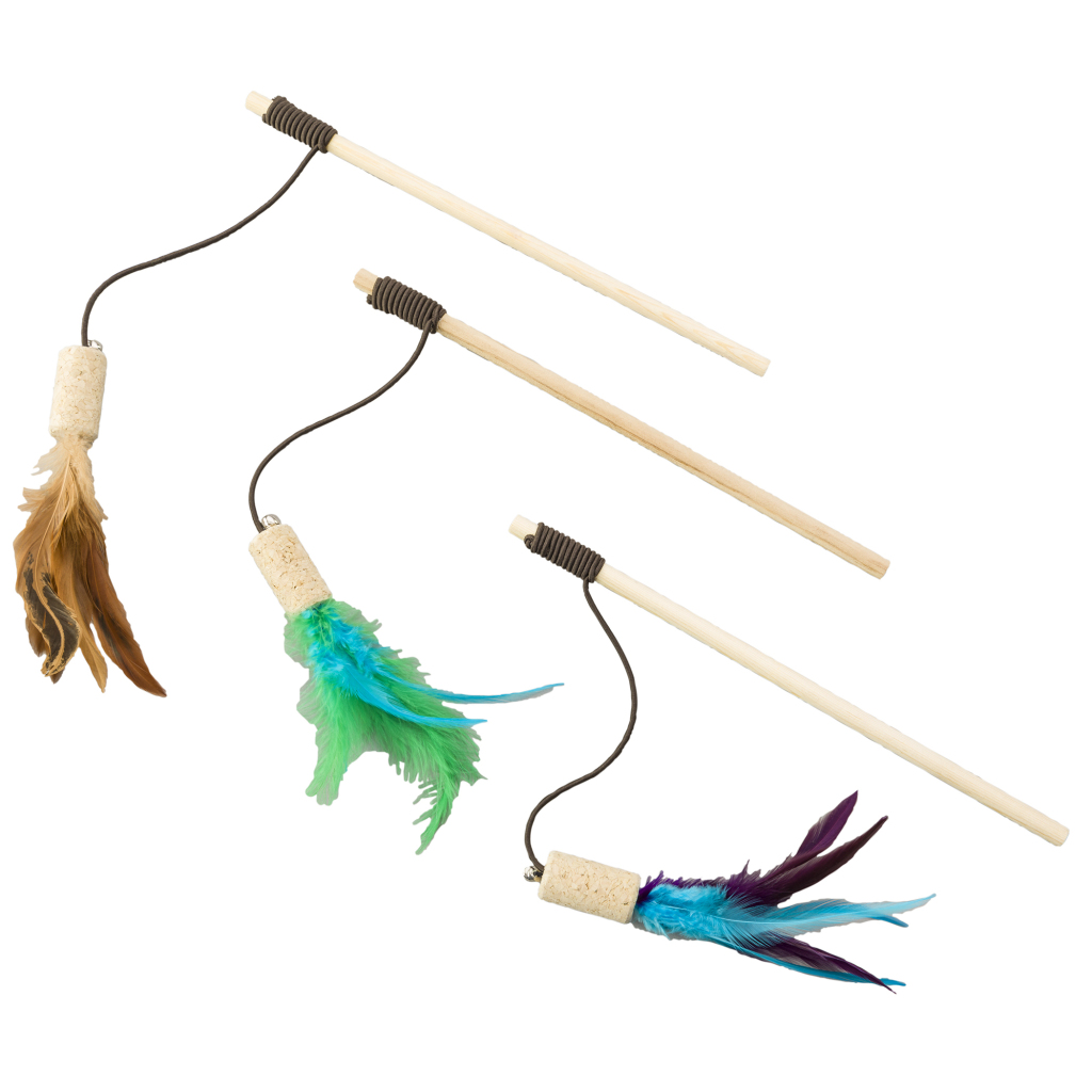 Ethical Pet Spot Cat-Bernet Cork with Feathers Teaser Wand Cat Toy, Color Varies