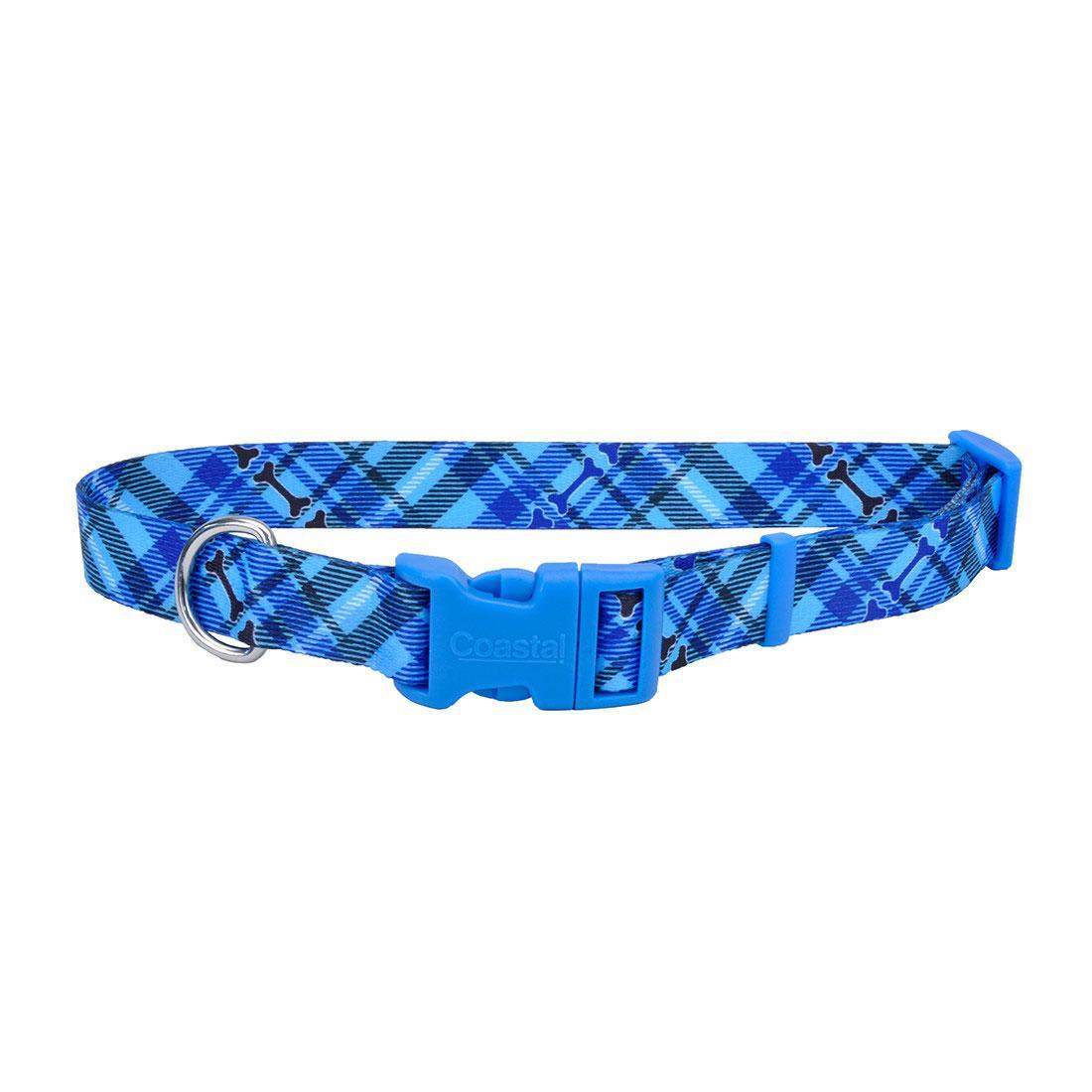 Styles Adjustable Dog Collar, Plaid Bones Image