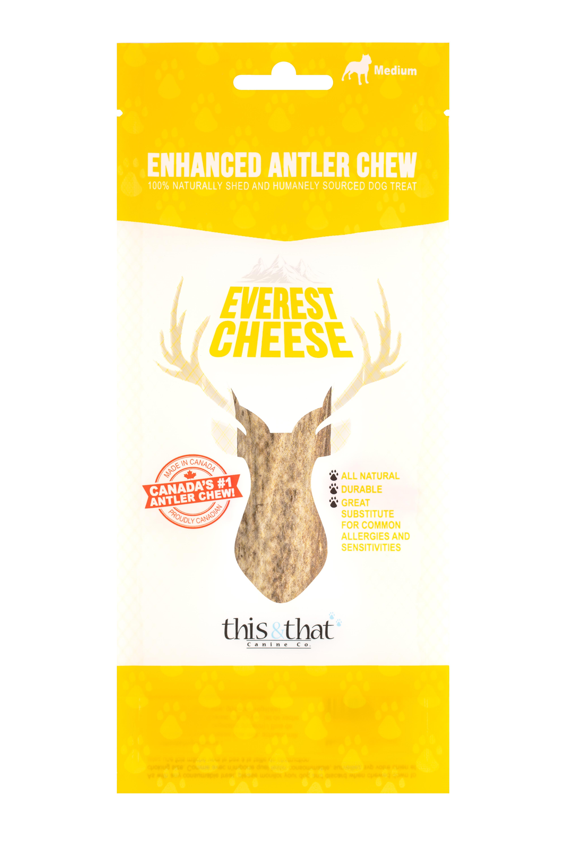 This & That Everest Cheese Enhanced Antler Chew Dog Treats, Medium