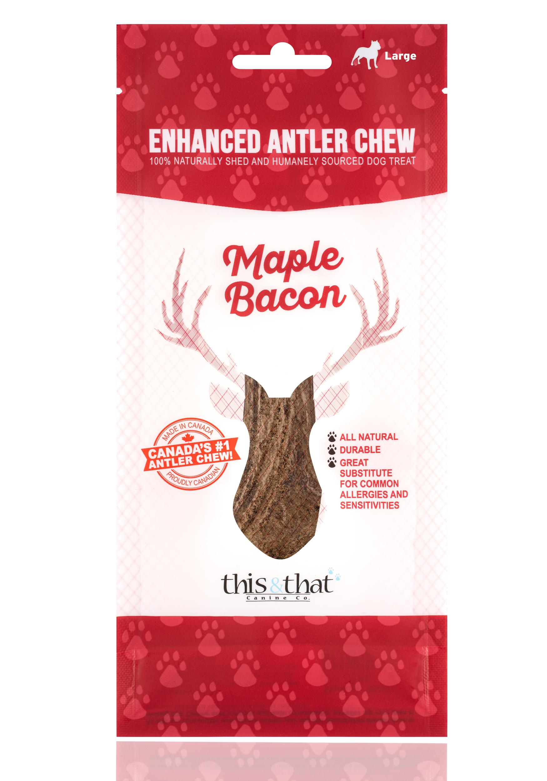 This & That Maple Bacon Enhanced Antler Chew Dog Treats, Large