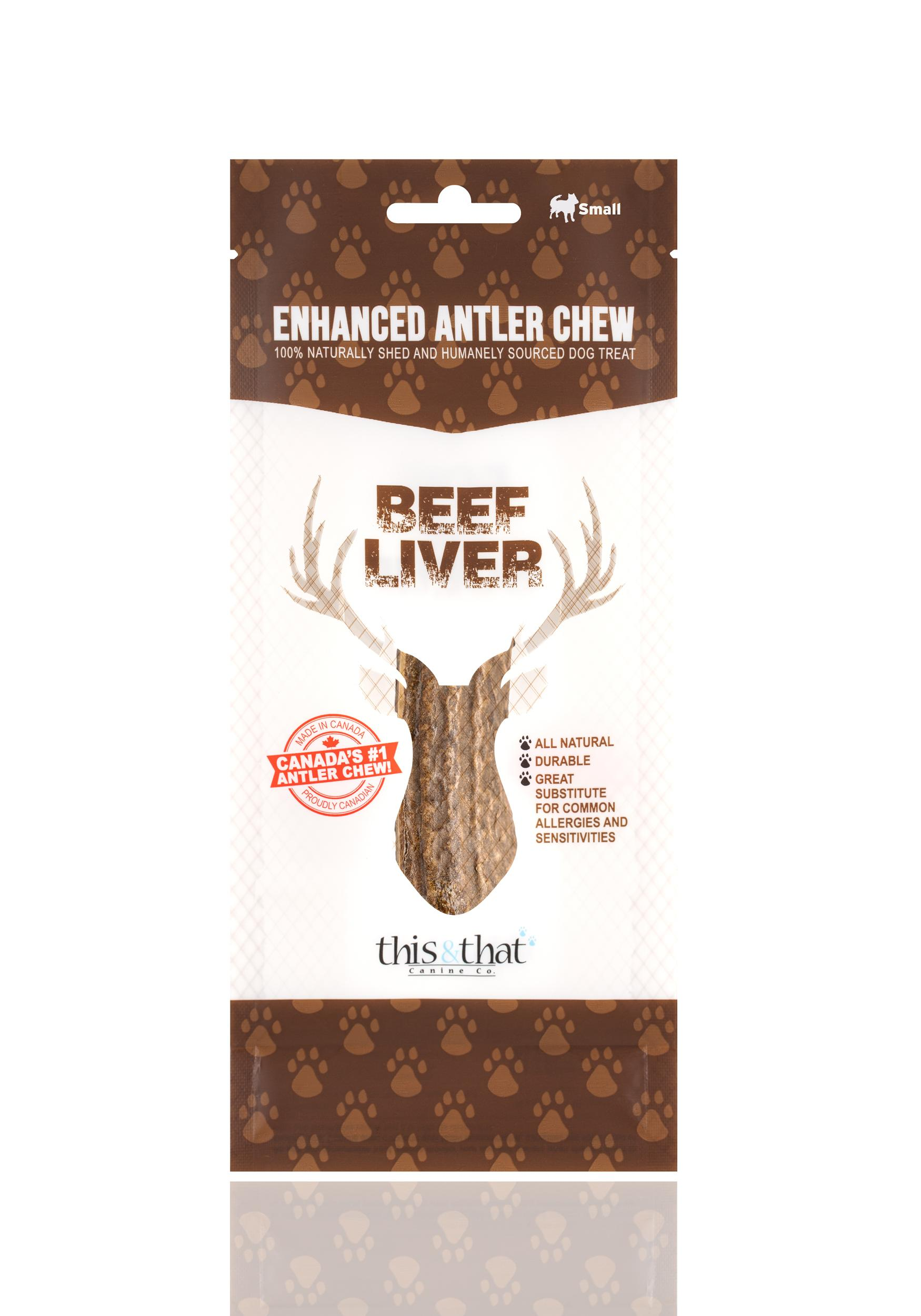 This & That Beef Liver Enhanced Antler Chew Dog Treats, Small