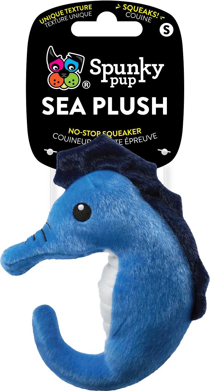Spunky Pup Squeaky Sea Plush Seahorse, Medium