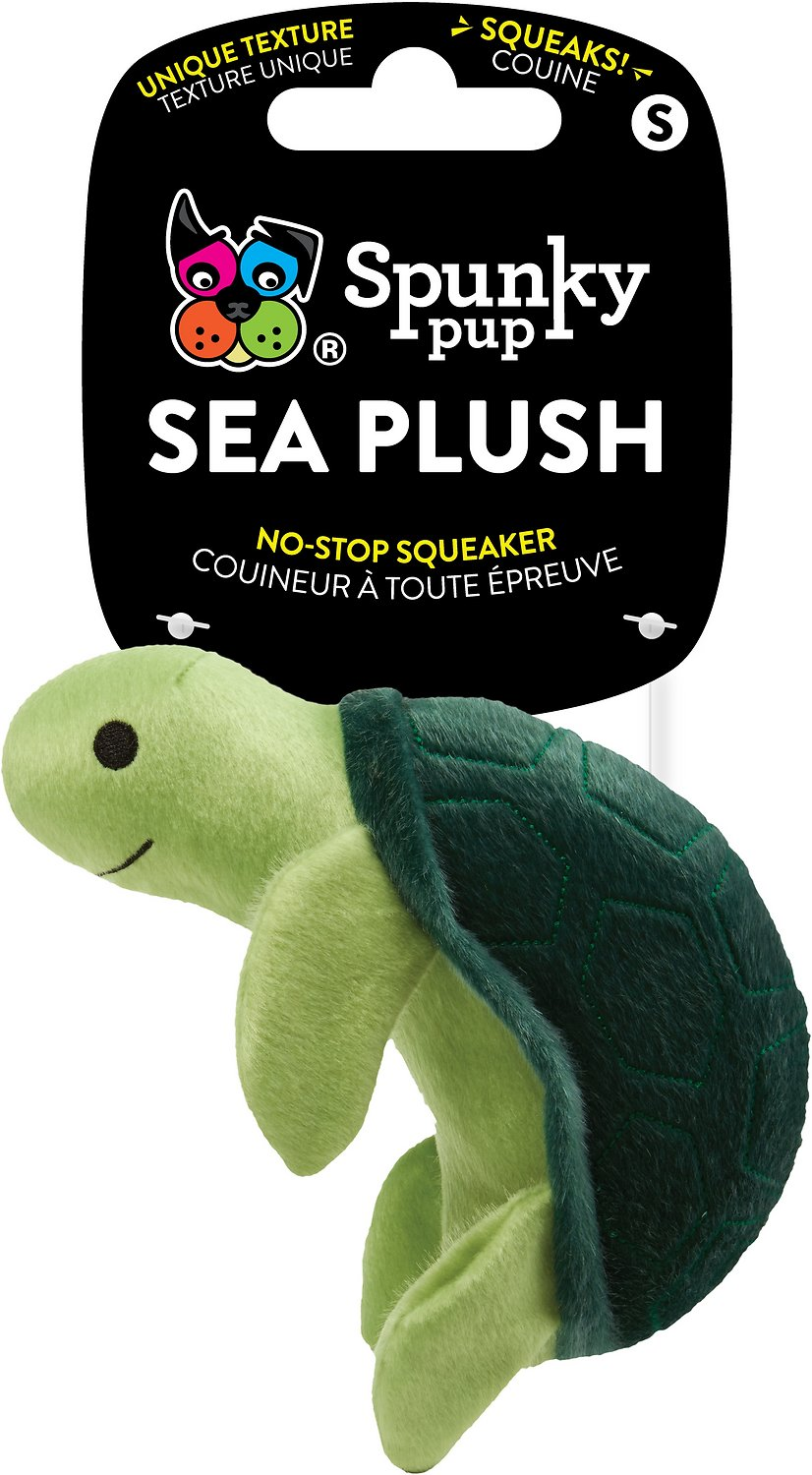 Spunky Pup Squeaky Sea Plush Turtle, Medium