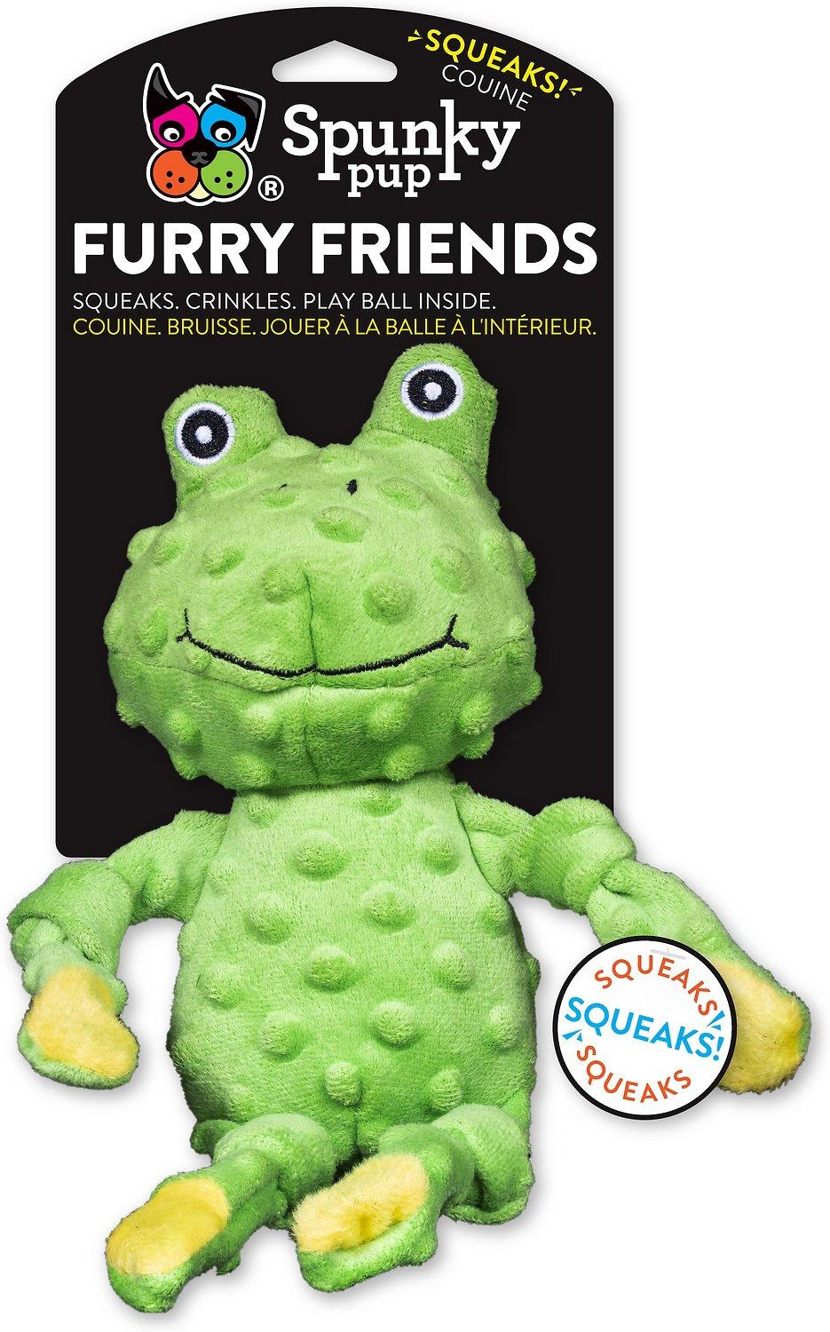 Spunky Pup Furry Friends Frog Dog Toy