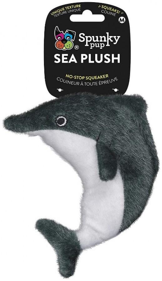 Spunky Pup Sea Plush Dolphin Dog Toy, Medium