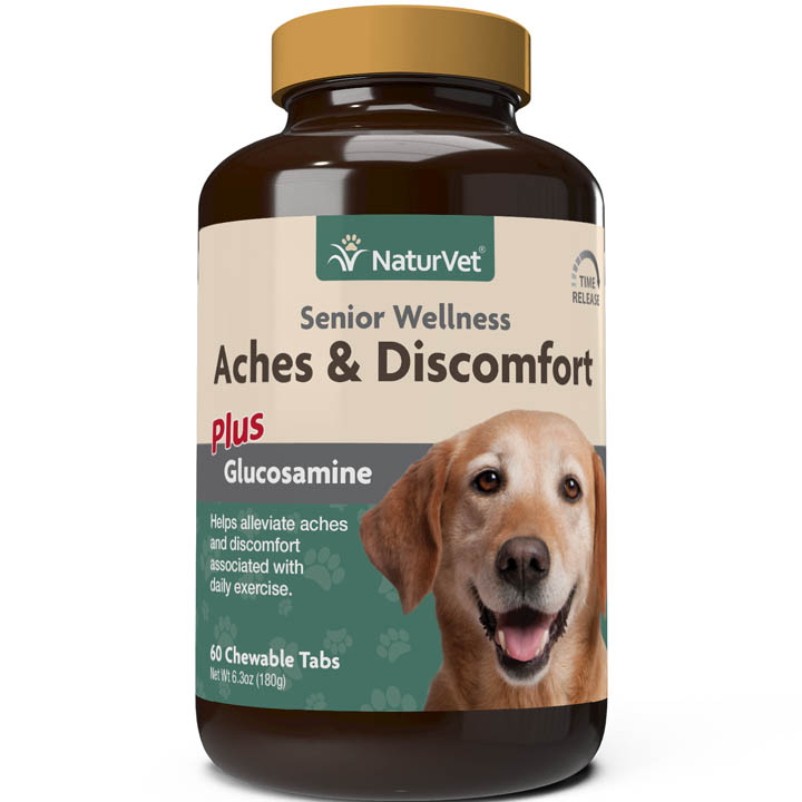 NaturVet Senior Aches & Discomforts Chewable Tablets for Dogs, 60-pack