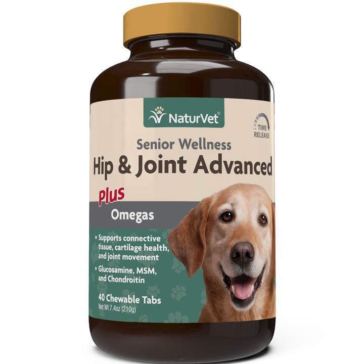 NaturVet Senior Hip & Joint Advanced Chewable Tablets for Dogs, 40-pack