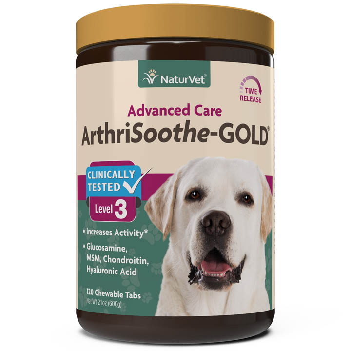 NaturVet ArthriSoothe-GOLD Advanced Care Chewable Tablets for Dogs, 120-count