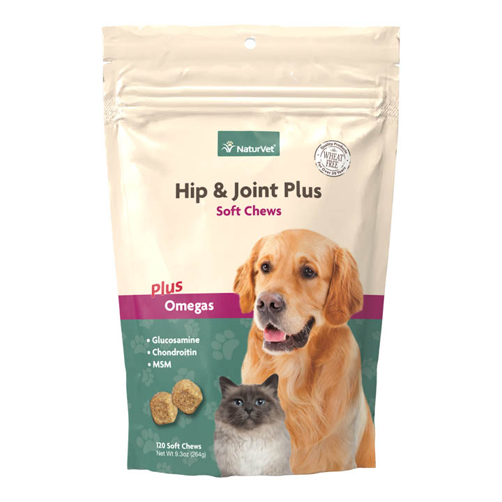 NaturVet Hip & Joint Plus Soft Chews for Dogs & Cats, 120-count
