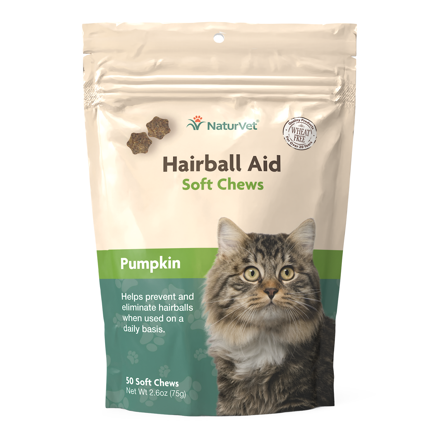 NaturVet Hairball Aid Plus Pumpkin Soft Chews for Cats, 50-count (Size: 50-count) Image