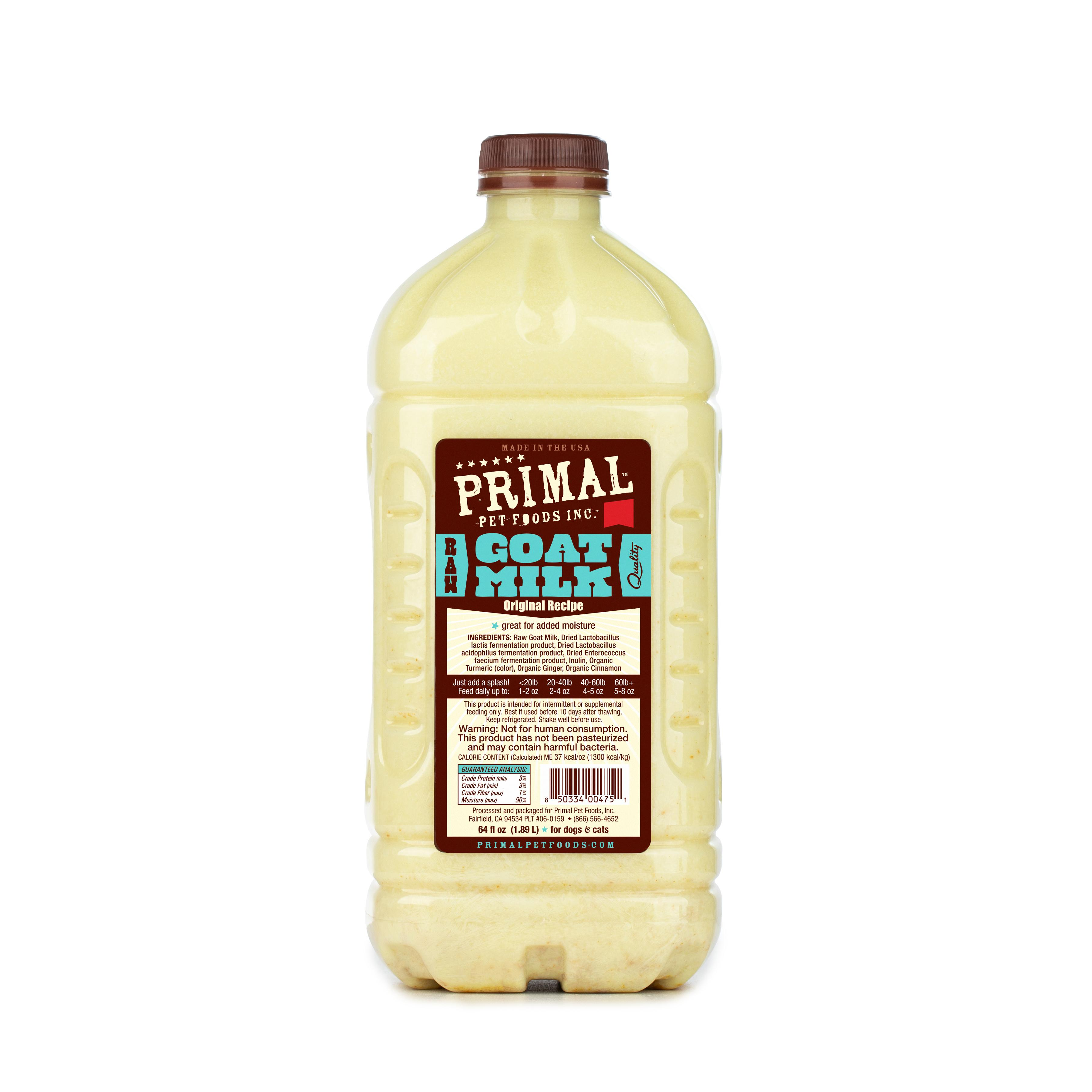 Primal Raw Frozen Goat Milk for Dogs & Cats, 0.5-gal