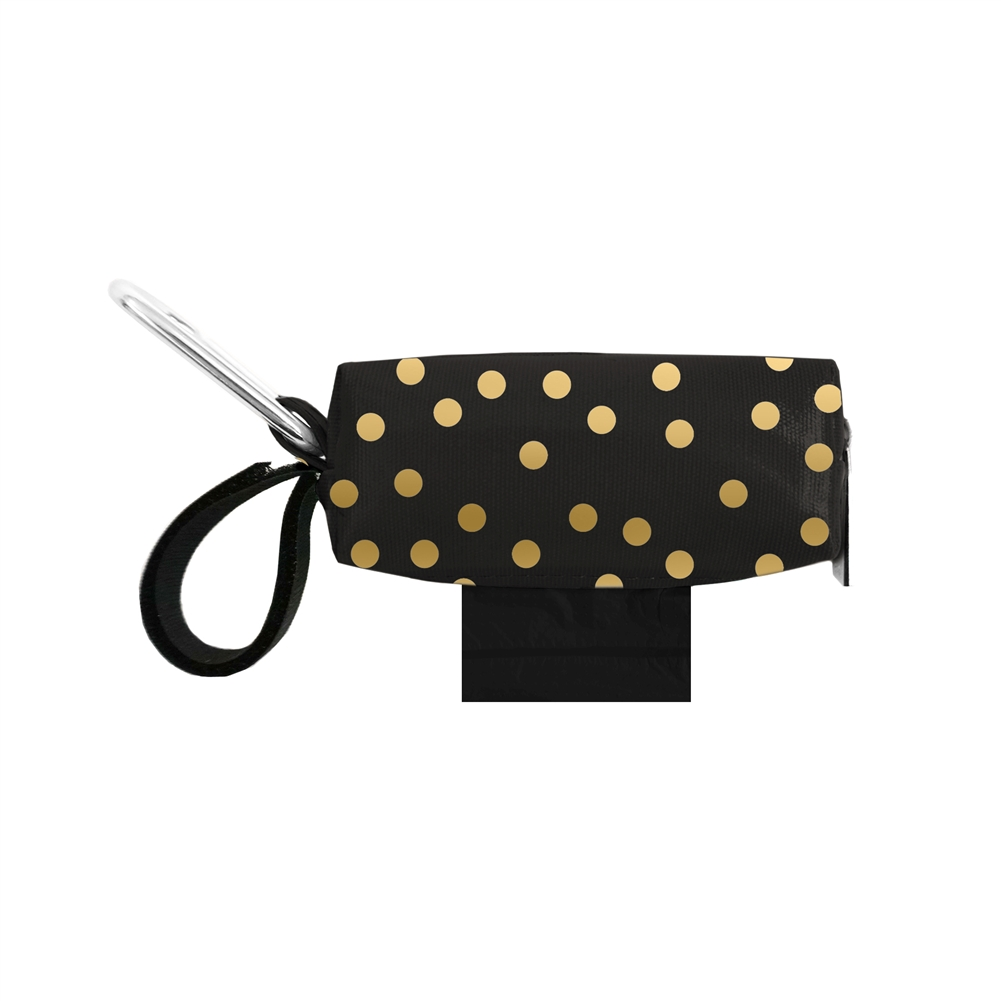 Doggie Walk Bags Black with Gold Dots Bag Holder