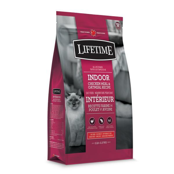 Lifetime Indoor Chiken Meal & Oatmeal Recipe Dry Cat Food, 5-lb
