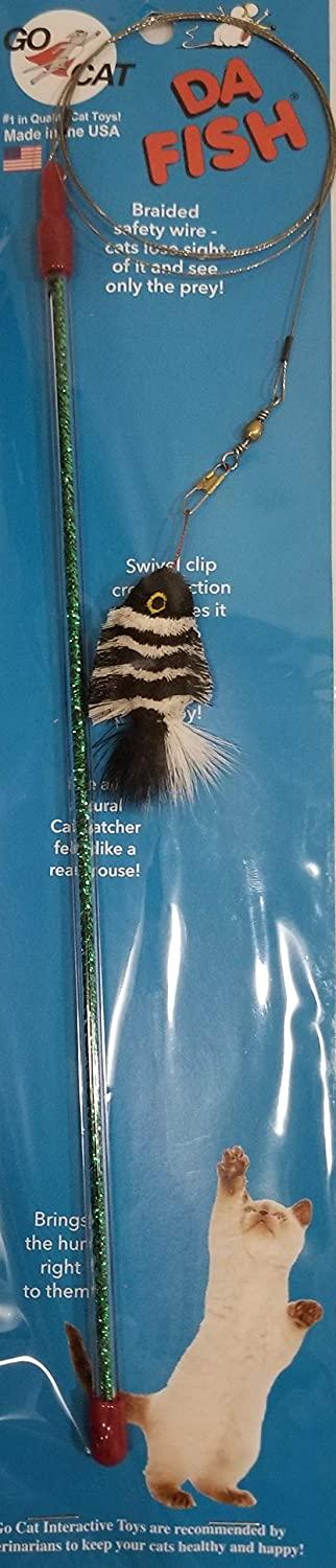 GoCat Da Zebra Fish Teaser Wand Cat Toy