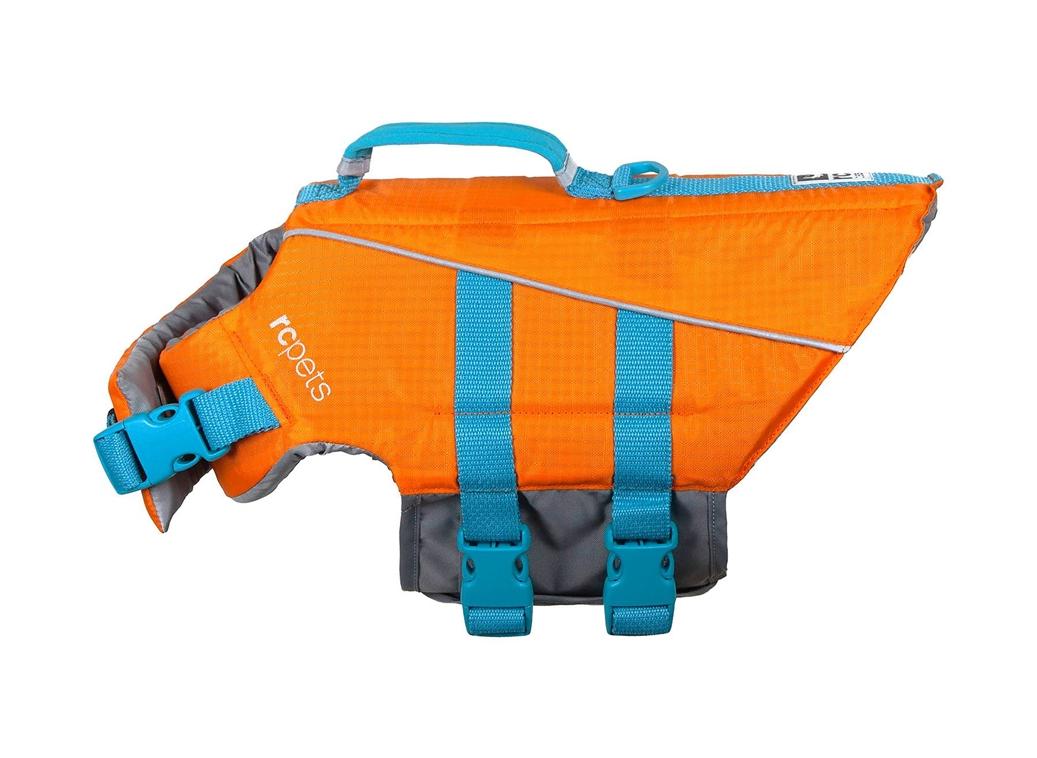 RC Pet Products Tidal Life Vest Dog Life Jacket, Orange/Teal, XX-Small