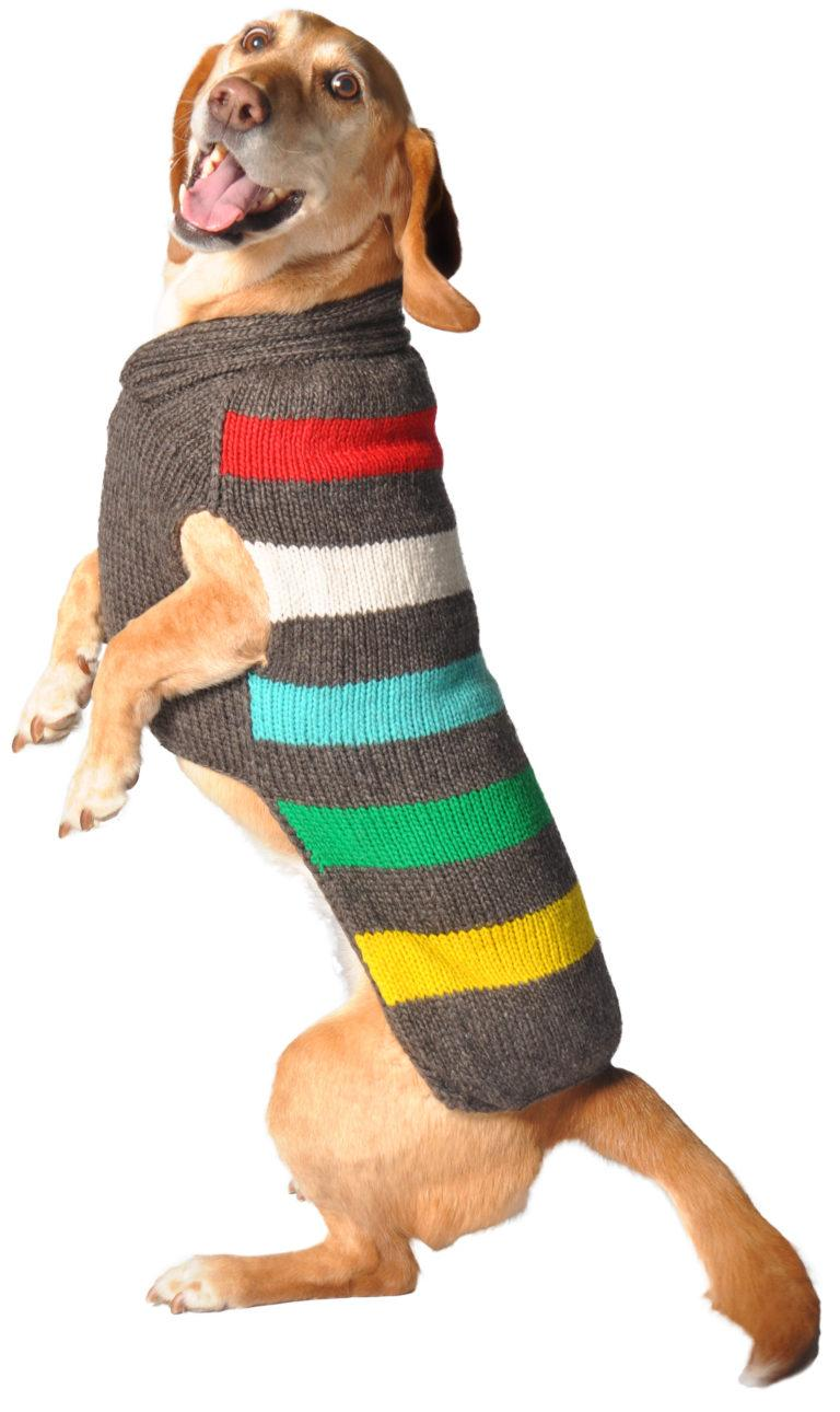 Chilly Dog Charcoal Stripe Dog Sweater, Large