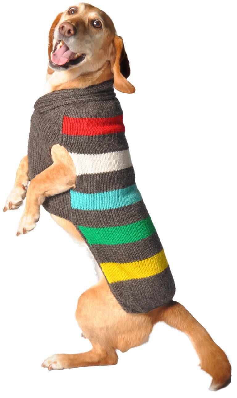 Chilly Dog Charcoal Stripe Dog Sweater, X-Large Size: X-Large