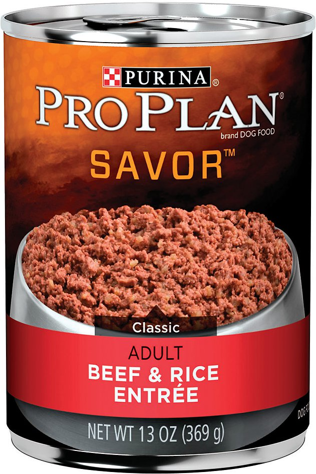 Purina Pro Plan Savor Adult Classic Beef & Rice Entree Canned Dog Food, 13-oz