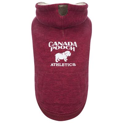 Canada Pooch Cozy Caribou Dog Hoodie, Maroon, 14-in