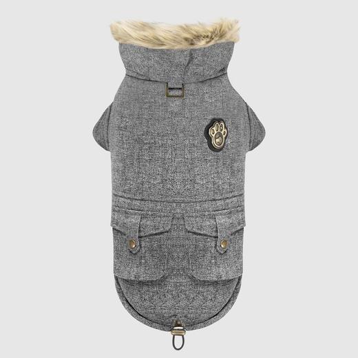 Canada Pooch Alaskan Army Parka Dog Coat, Salt & Pepper, 10-in
