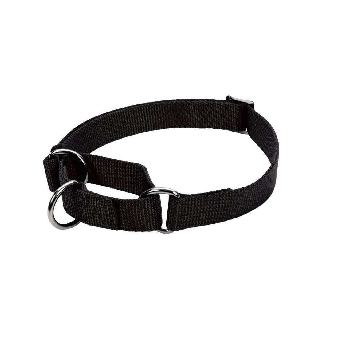 No! Slip Martingale Adjustable Dog Collar, Black, 5/8-in x 10-14-in