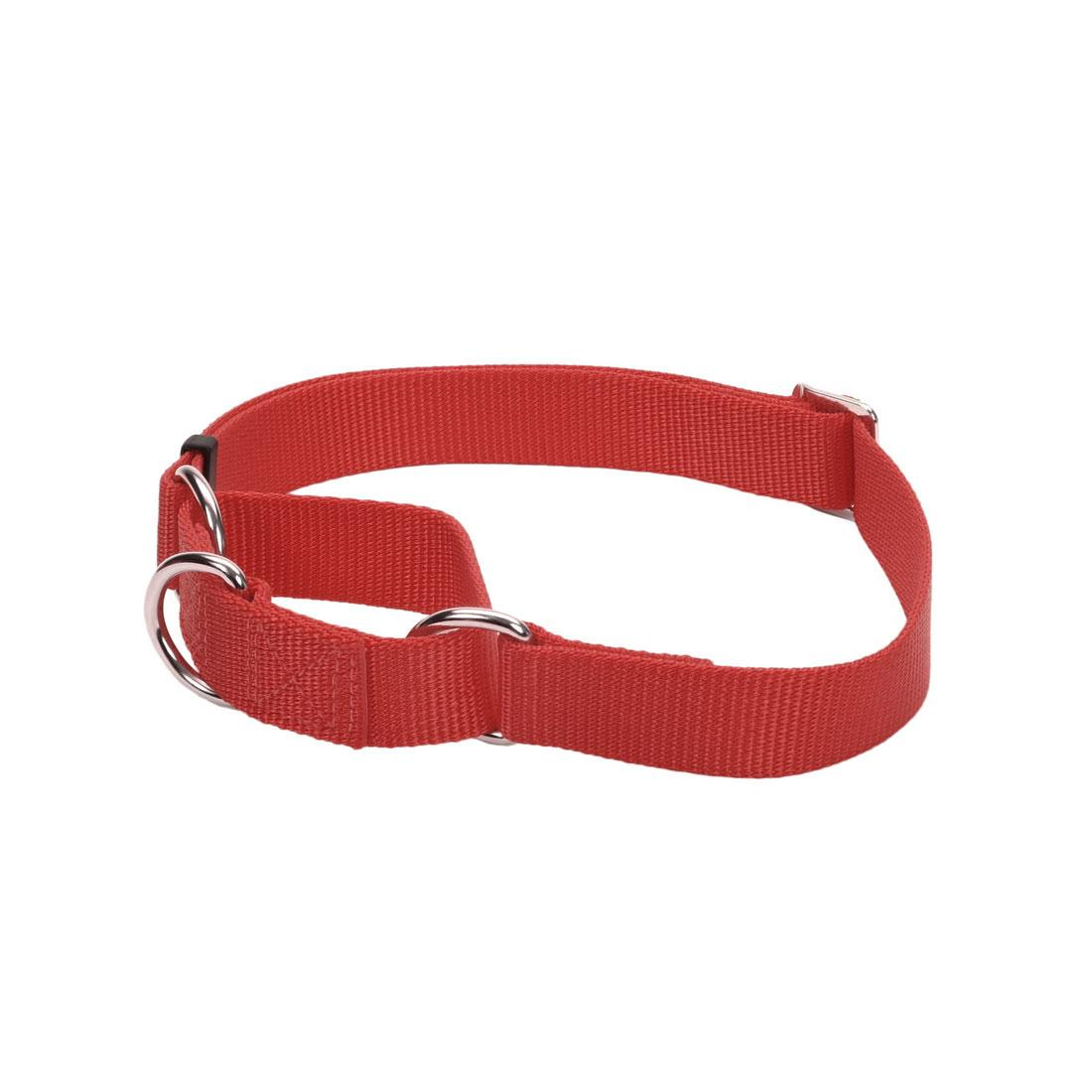 No! Slip Martingale Adjustable Dog Collar, Red, 5/8-in x 10-14-in