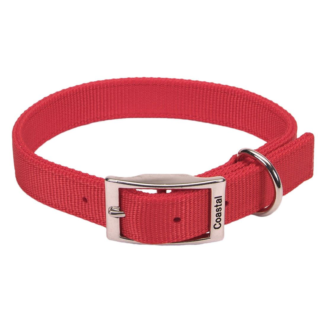 Coastal Double-Ply Nylon Dog Collar, Red, 1-in x 26-in