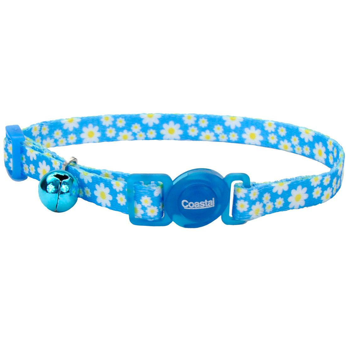 Safe Cat Fashion Adjustable Breakaway Cat Collar, Daisy Blue, 3/8-in x 8-12-in (Size: 3/8-in x 8-12-in) Image