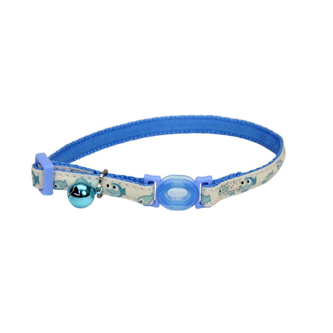 Safe Cat Glow in the Dark Adjustable Breakaway Collar, Glowing Blue Fish, 3/8-in x 8-12-in