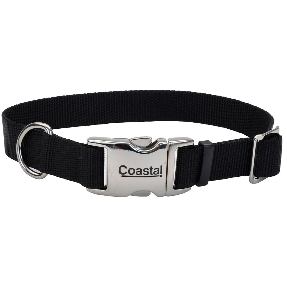Coastal Adjustable Collar with Metal Buckle for Dogs, Black Image