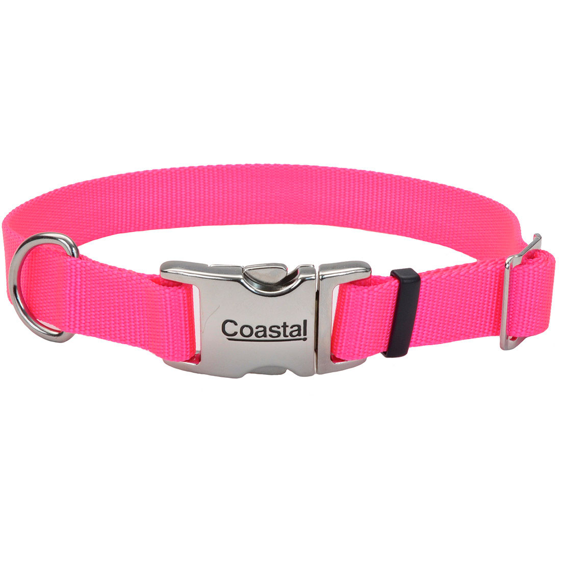 Coastal Adjustable Collar with Metal Buckle for Dogs, Neon Pink Image