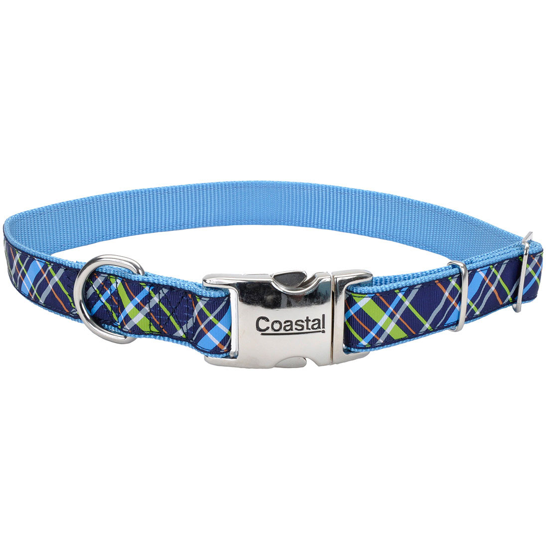 Ribbon Adjustable Collar with Metal Buckle for Dogs, Navy Blue Plaid Image