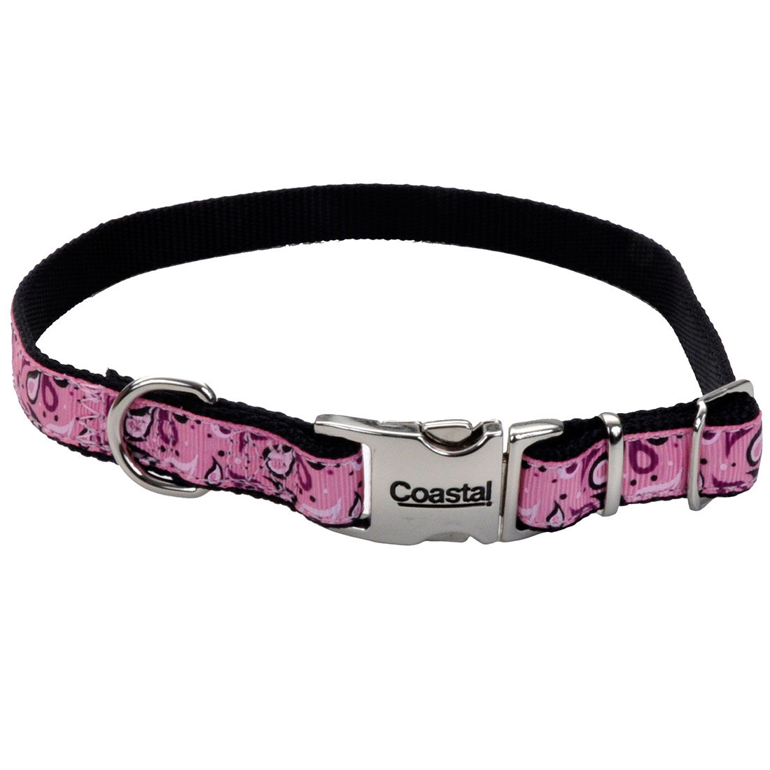 Ribbon Adjustable Collar with Metal Buckle for Dogs, Pink Paisley Image