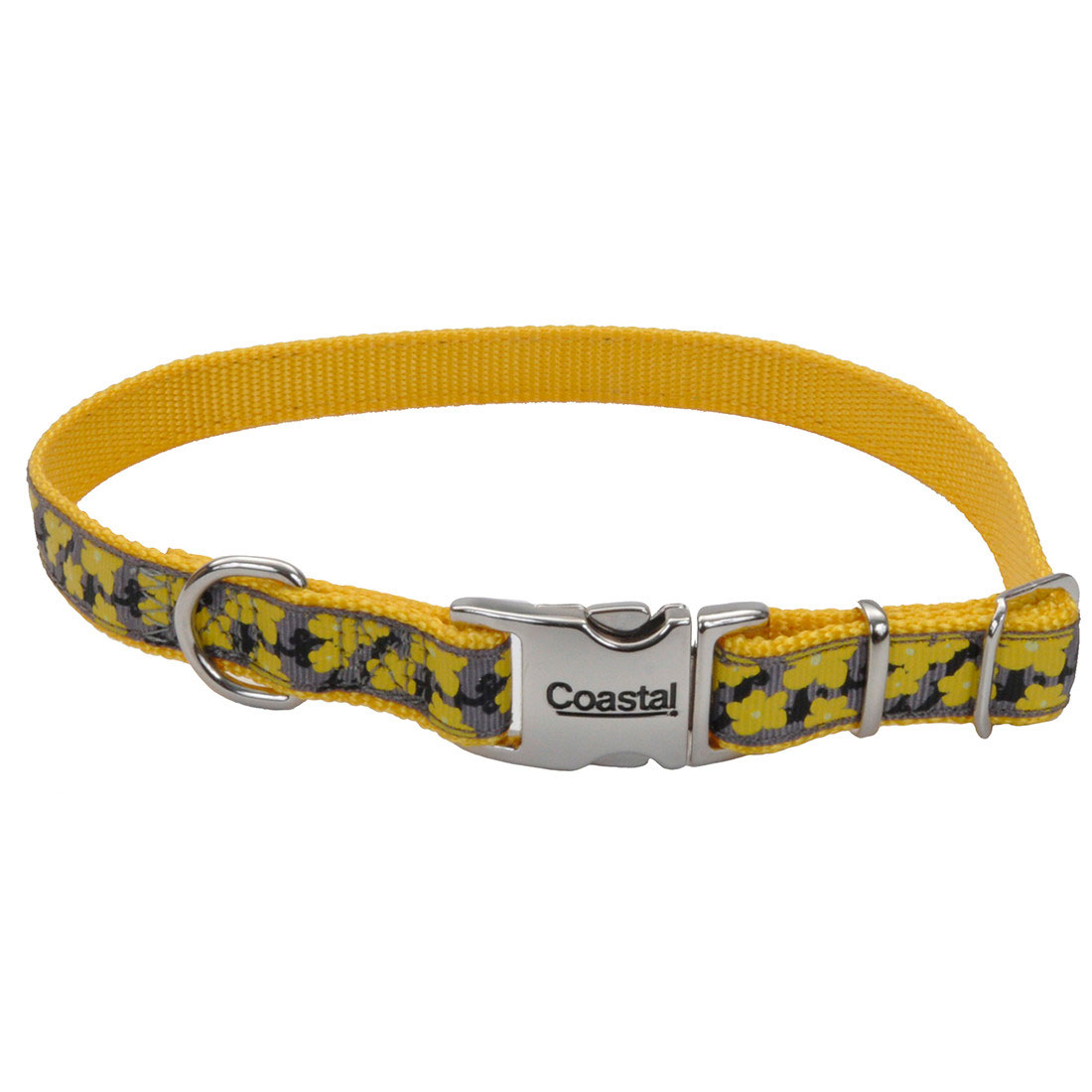 Ribbon Adjustable Collar with Metal Buckle for Dogs, Yellow Buttercup Image
