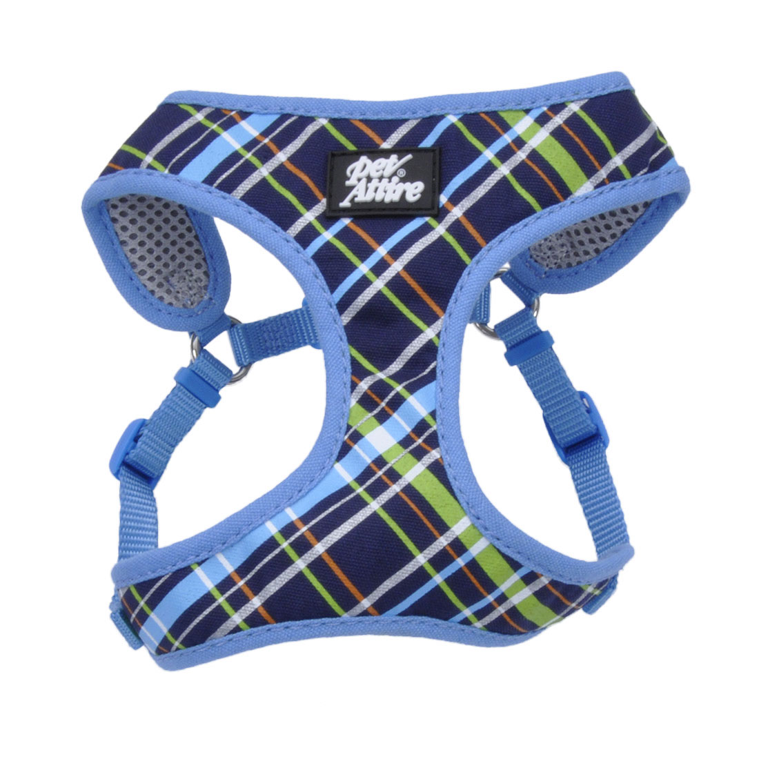 Ribbon Designer Wrap Adjustable Dog Harness, Navy Blue Plaid, 3/8-in x 14-in-16-in
