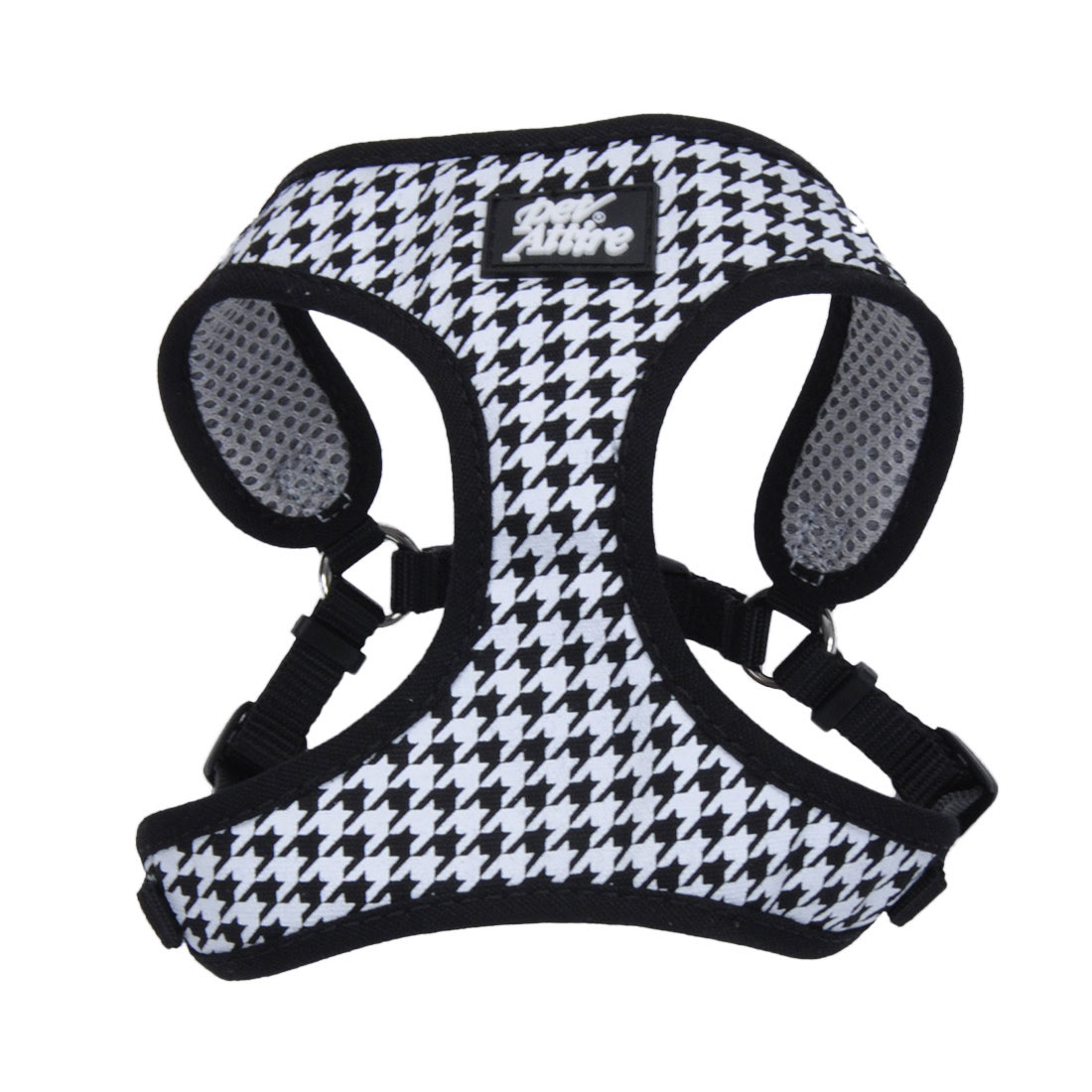 Ribbon Designer Wrap Adjustable Dog Harness, Houndstooth, 5/8-in x 16-in-19-in