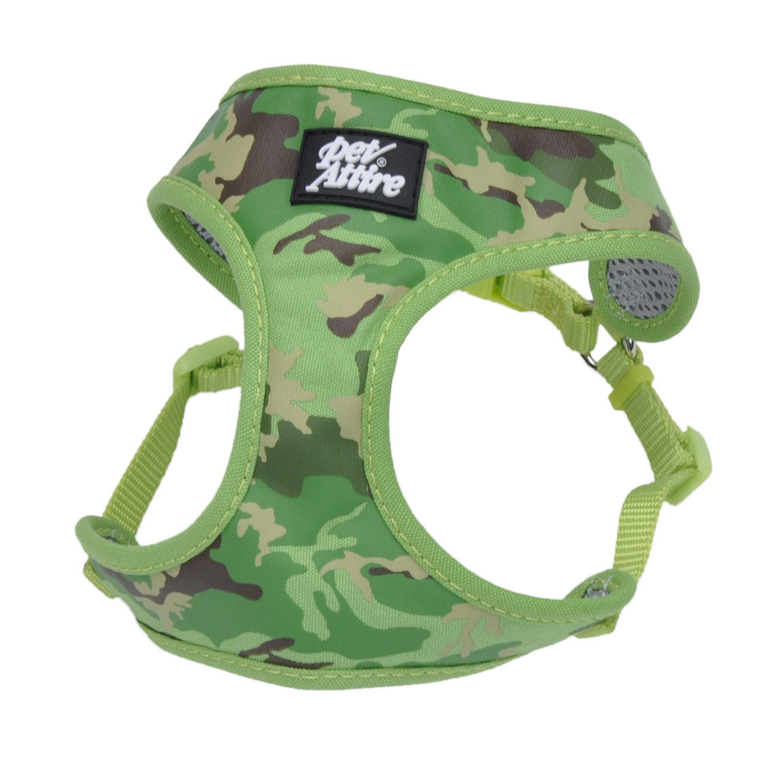 Ribbon Designer Wrap Adjustable Dog Harness, Lime Camoflage, 3/8-in x 14-in-16-in