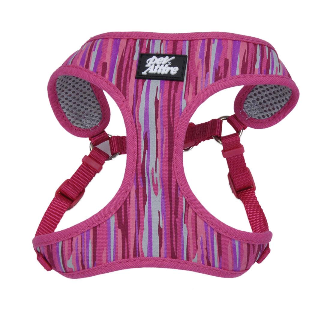 Ribbon Designer Wrap Adjustable Dog Harness, Pink Flamingo Stripe, 3/8-in x 14-in-16-in